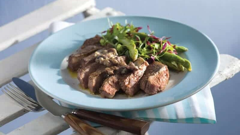 Barbequed Steak with Black Olive Tapenade Butter