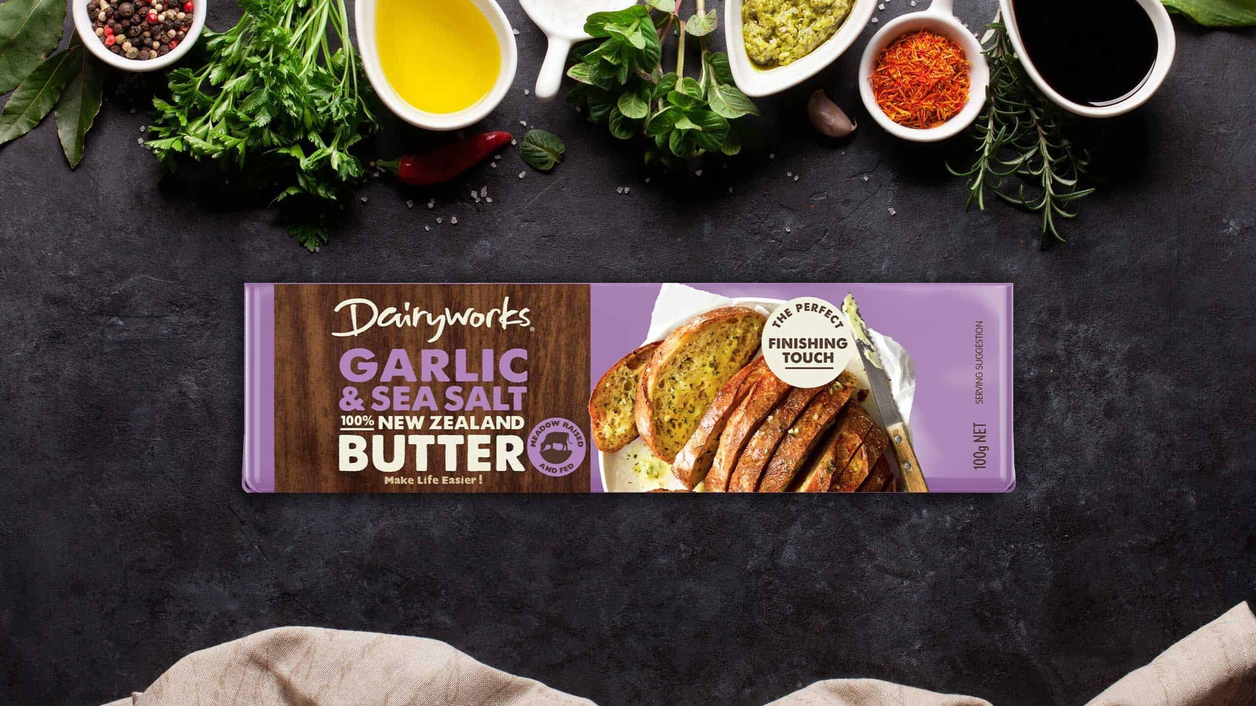 Dairyworks Garlic & Sea Salt 100% New Zealand Butter