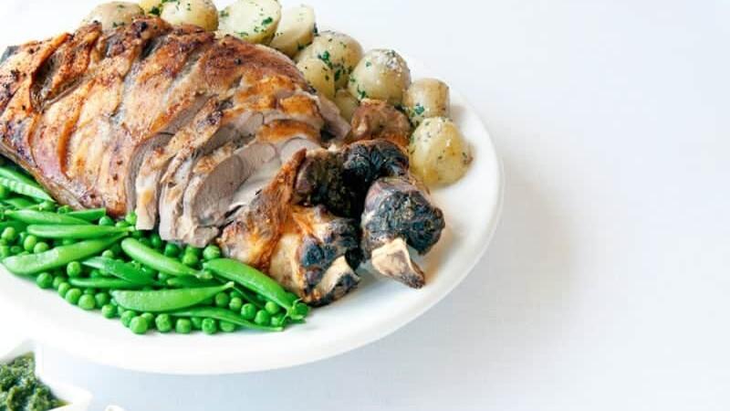 Garlic & Wine Glazed Roast Lamb with Mint Pesto