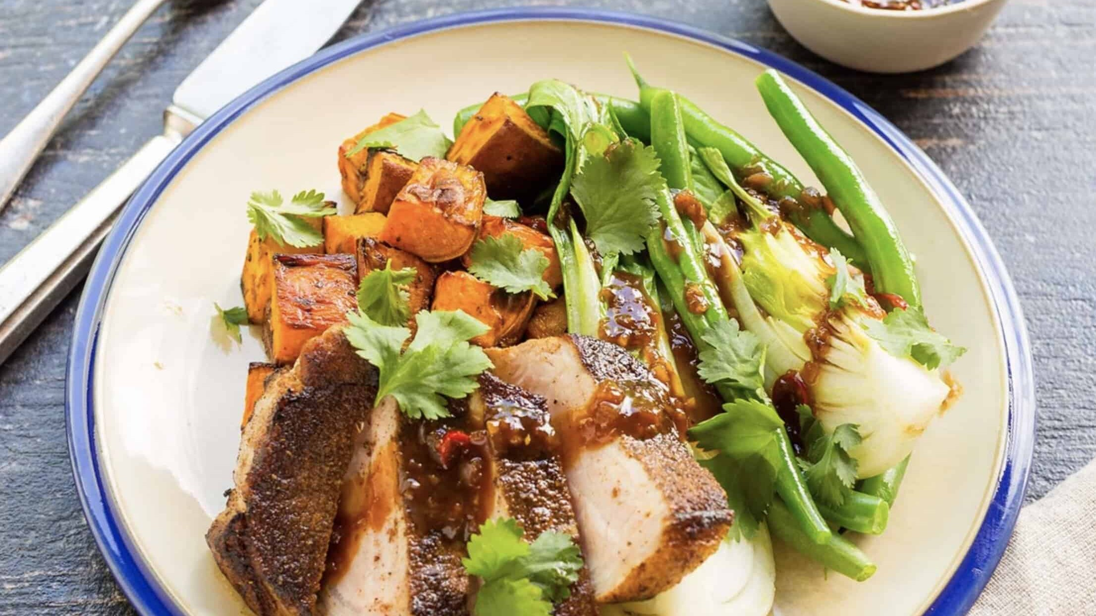 Pork Sirloin Steak with Roasted Pumpkin, Greens and Caramelised Chilli Sauce
